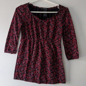 Style & Co Petite Floral 3/4 Sleeve Top Pink Small